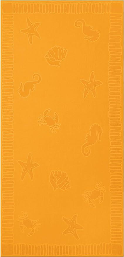 ZOLLNER Toalla de Playa Grande, 100x200 cm, algodón, Amarilla ...