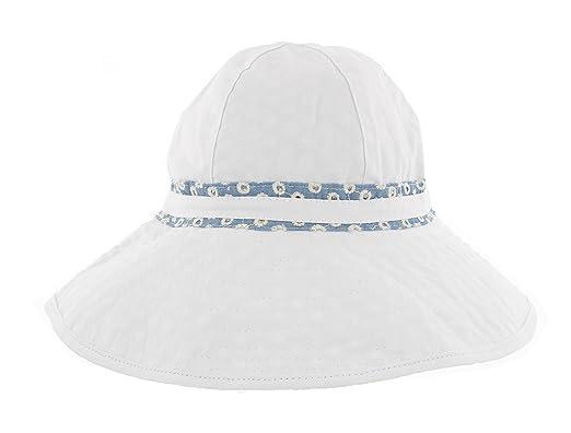 f3987a37 Ladies Summer Reversible Wide Brim 100% Cotton Sun Hat LP17203 (White/Blue/ Floral): Amazon.co.uk: Clothing