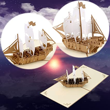 3D Pop Up Greeting Card Vintage Sailing Ship