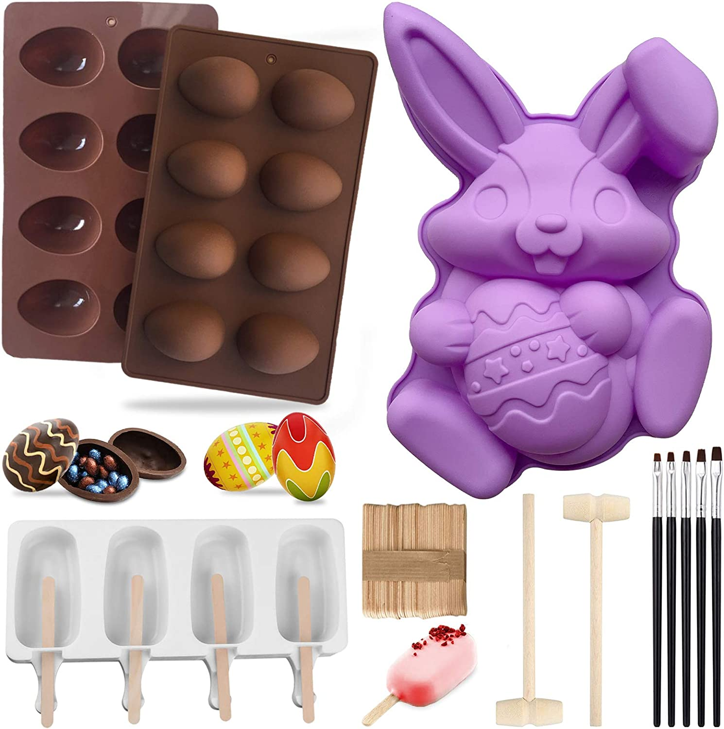 Easter Silicone Molds,Big Bunny Molds,Easter Eggs Silicone Mold,Popsicle Silicone Molds with 50 Wooden Sticks,2 Mini Wooden Hammer,5 Cake Brushes for DIY Chocolate Bomb,Candy (A)