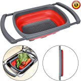 QiMH Colander collapsible Over The Sink Vegtable/Fruit Colander Strainer With Extendable Handles(Green&Red) (Red)