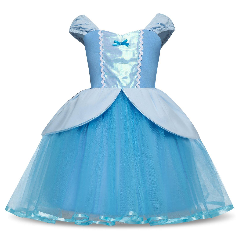 Colorfog Princess Alice Cinderella Dress Rapunzel Dress Mermaid Dress Costumes for Baby Girls Fancy Dress (12 Months, Sky Blue)