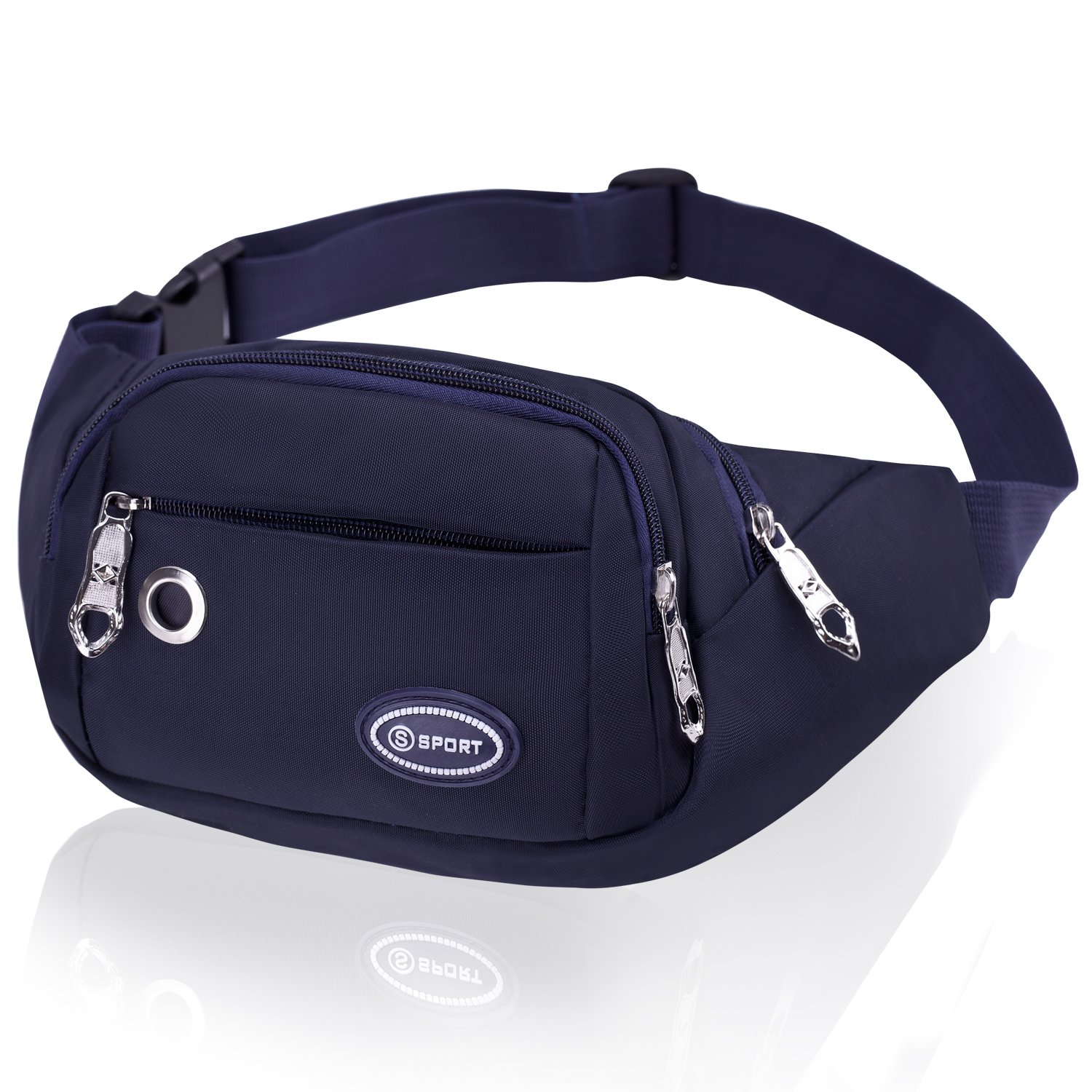 Blue Bum Bag Fanny Pack for Women and Men CAMORF Large Capacity Waist Bag 4 Pockets - Waterproof Running Belt Fits MAX 7.9'' iPad & 6.6'' Cellphone iPhone - Travel Bum Bag for Running Hiking Cycling Workout