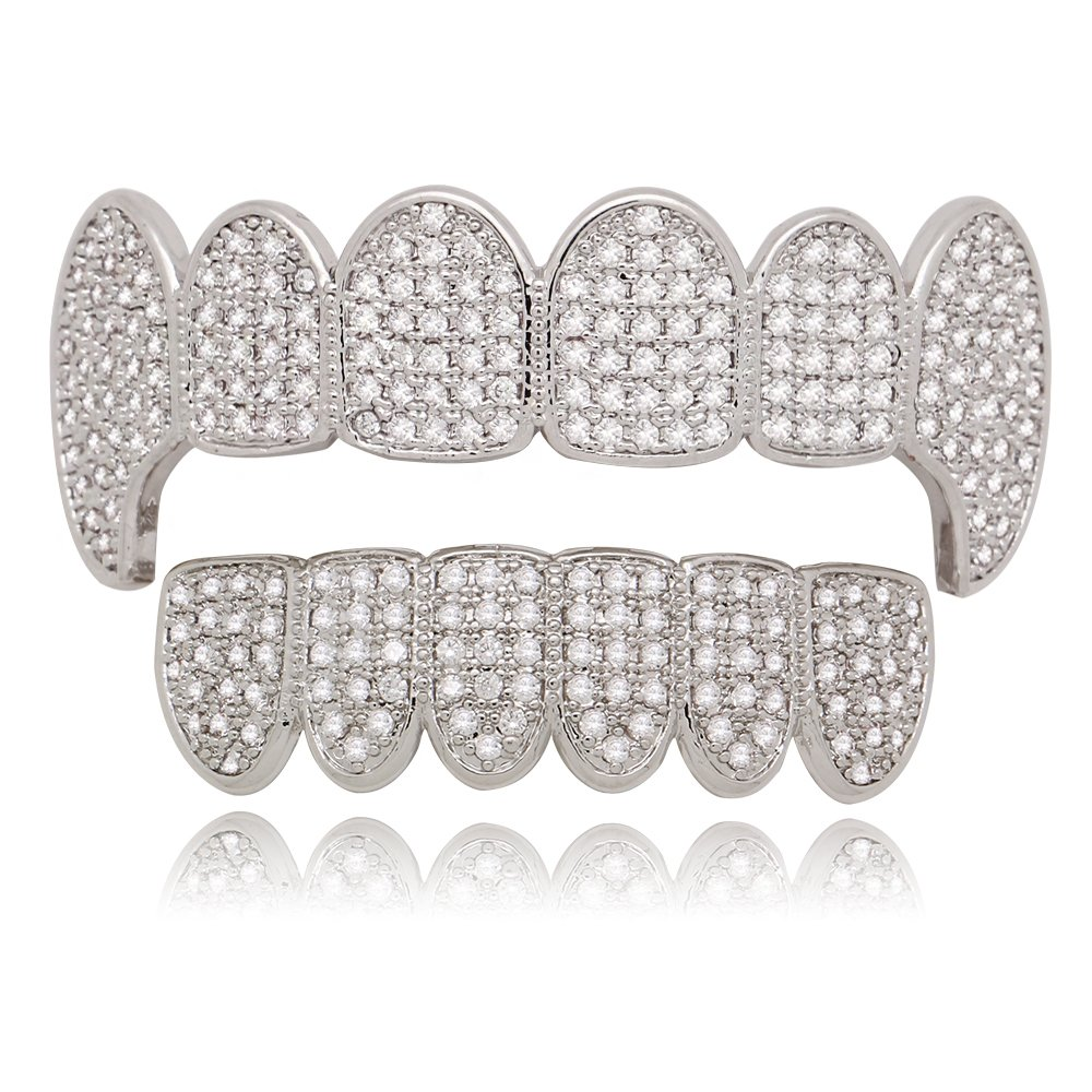 Lureen Gold Silver Iced Out CZ Vampire Fangs Grillz Set + EXTRA Molding Bars (Silver Set)