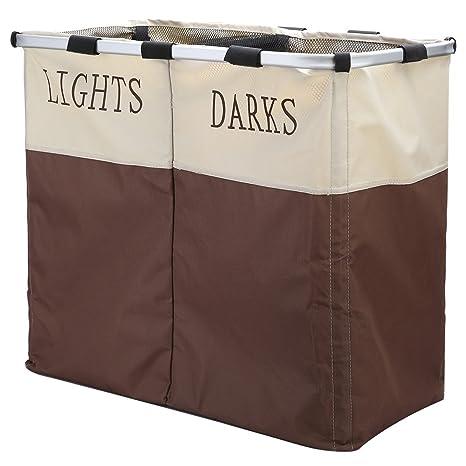 ihomagic grande 2 sección luz & Darks para ropa sucia, collasipble gamuza de lavado cesta