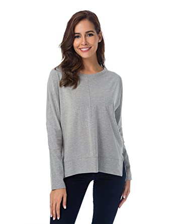 e1c198fe06ff2b Women s Cut Out Cold Shoulder Cotton Long Sleeve T-Shirt Loose Tunic Top  Sweatershirt at Amazon Women s Clothing store