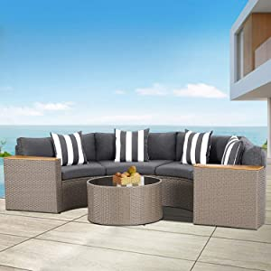 Cemeon Outdoor Furniture Patio 5-Piece Sectional Half-Moon Sofa All Weather Grey Wicker Conversation Set with Round Tempered Glass Table and Grey Cushions