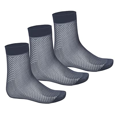 ACSUSS Men's Casual Thin Breathable Pure Soft Silk Mid-Calf Crew Socks (3 Pack) Charcoal Grey One Size at Amazon Men's Clothing store
