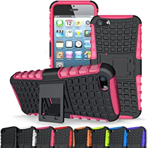 Iphone 5 Case,Iphone 5S Case,ACCUCASE New,Best,Shockproof,Dropproof,PC+TPU Colorfull Fashion Cute Armor Case With Stand for kids,boys,girls(Pink)