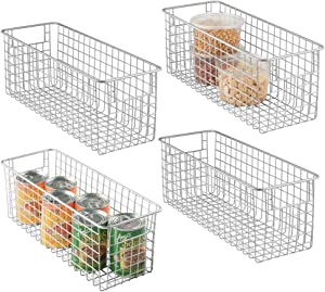 """mDesign Farmhouse Decor Metal Wire Food Storage Organizer Bin Basket with Handles for Kitchen Cabinets, Pantry, Bathroom, Laundry Room, Closets, Garage - 16"""" x 6"""" x 6"""" - 4 Pack - Chrome"""