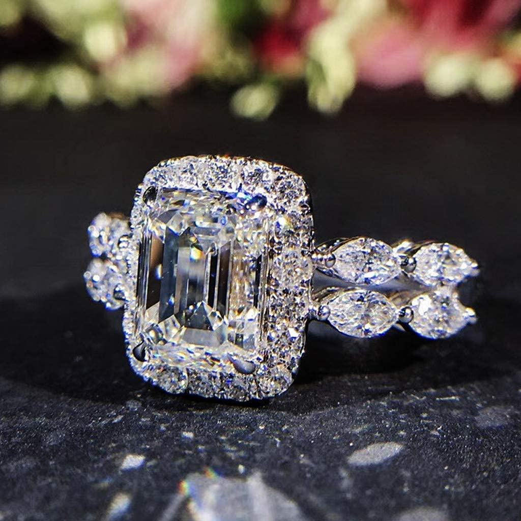Mike Franklins Diamond Ring Temperament Square Shaped Diamond Ring Marriage Proposal Diamond Female Ring