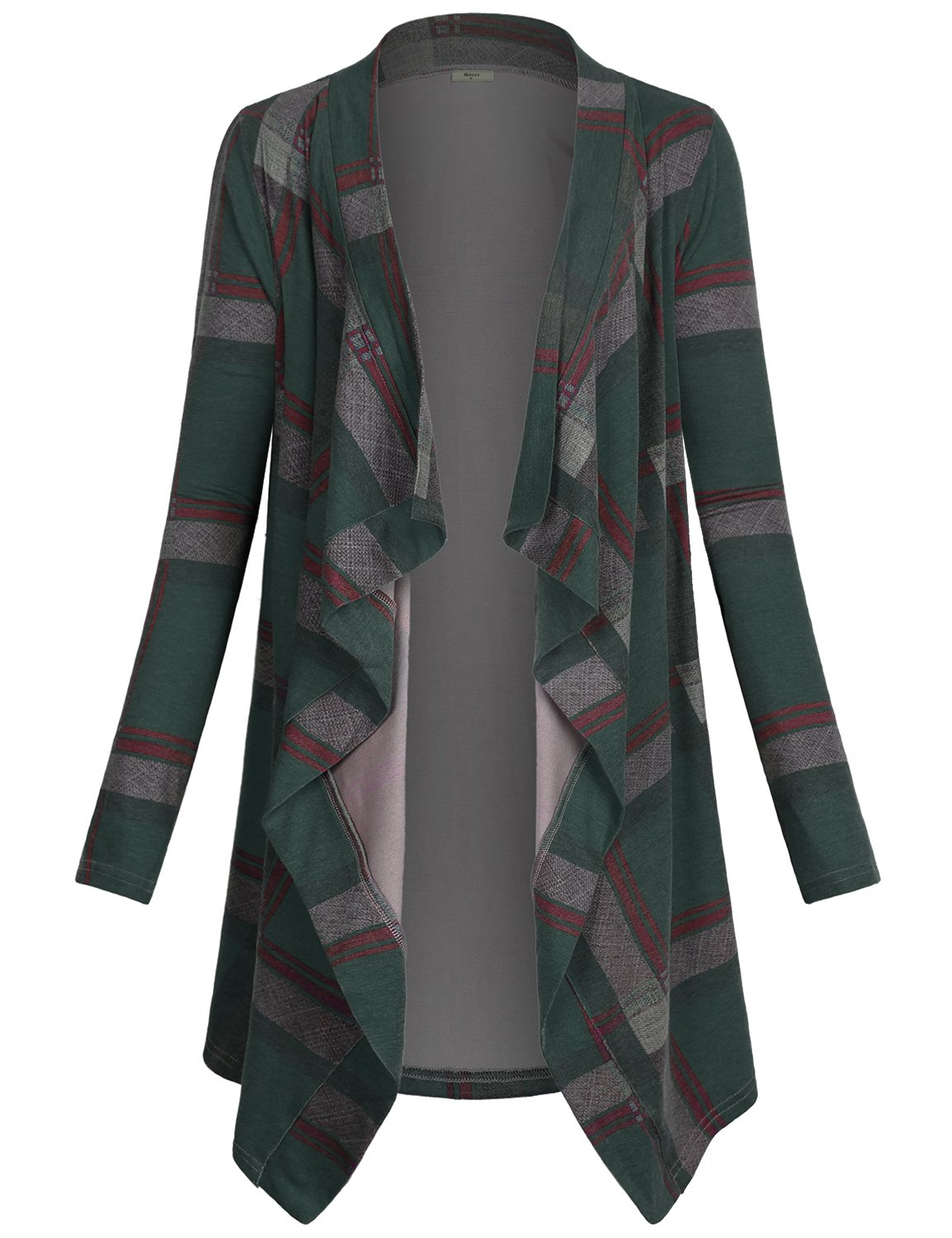 Miusey Open Front Cardigan Women's Fashion Long Sleeve Geometric Casual Plaid Print Drape Open Front Knit Wrap Loose Fitting Style Fashion Knit Clothes Sweater Coat Green Medium