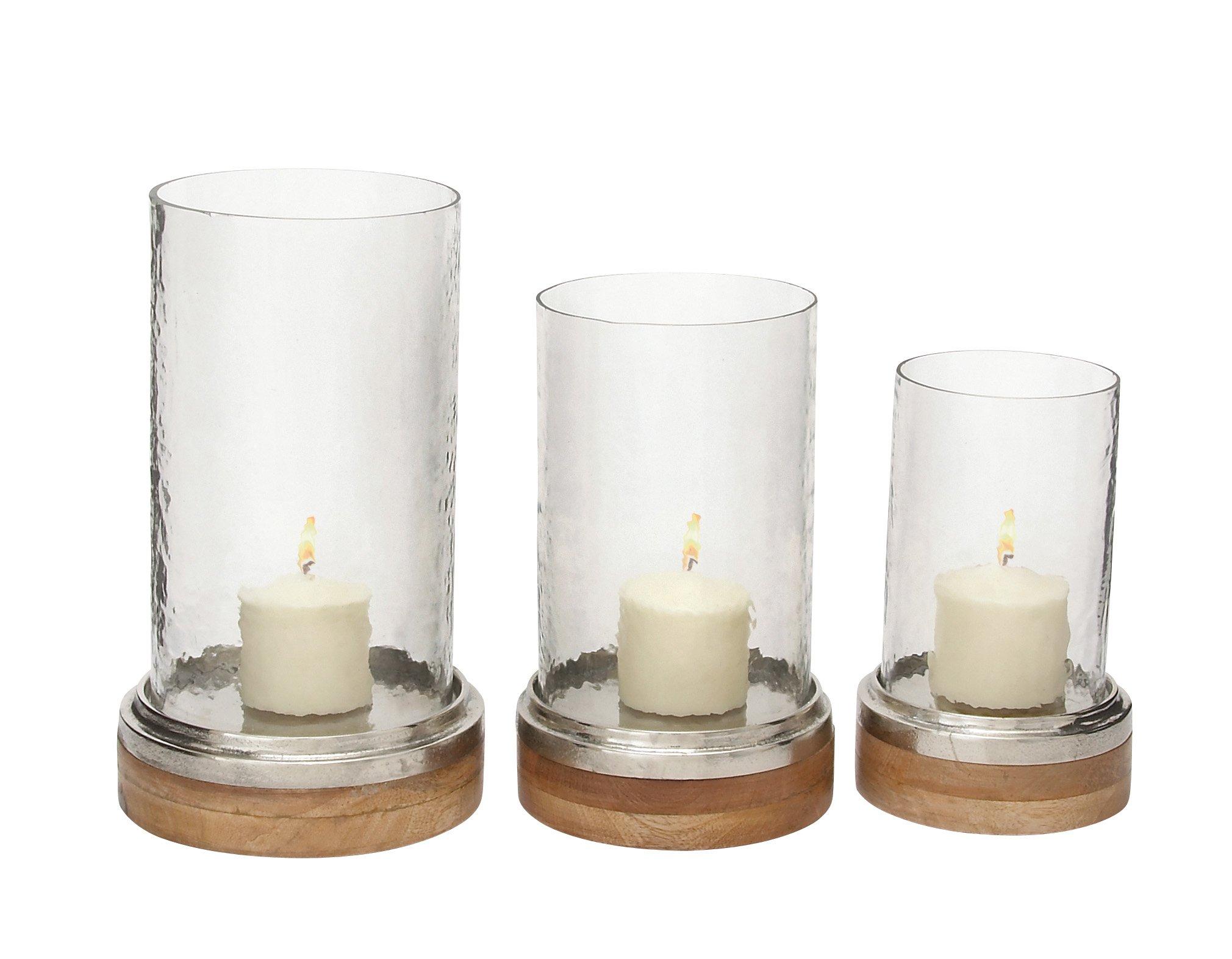 Deco 79 37550 Glass Metal Wood Hurricane, 11 x 9''