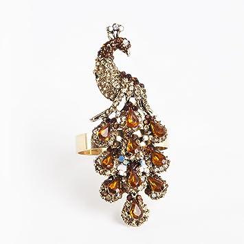 Amazon Jeweled Gold Peacock Elegant Napkin Rings Set of 4