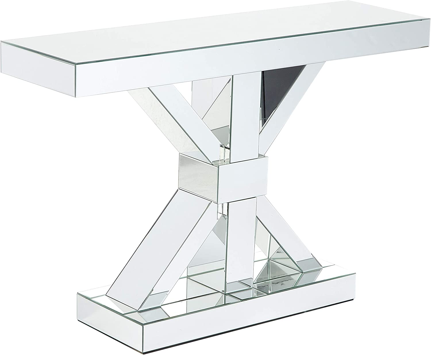 """Coaster Home Furnishings Coaster Contemporary Thick Mirrored Console Table, 47""""L x 13""""W x 32.25""""H, Silver"""
