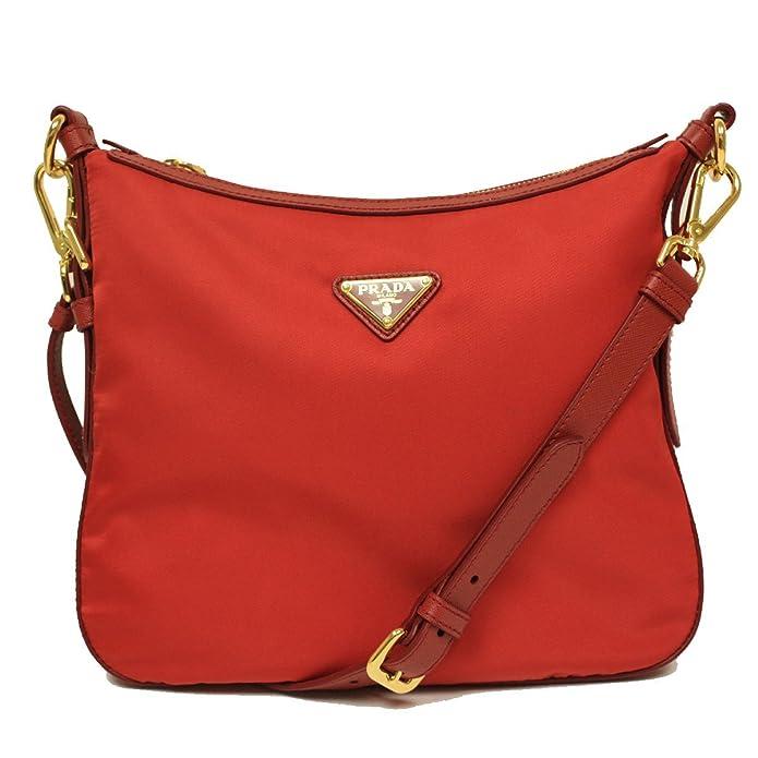 ... 50% off prada bt0706 rosso red tessuto saffian nylon and leather  crossbody messenger bag amazon 82f6452ac7