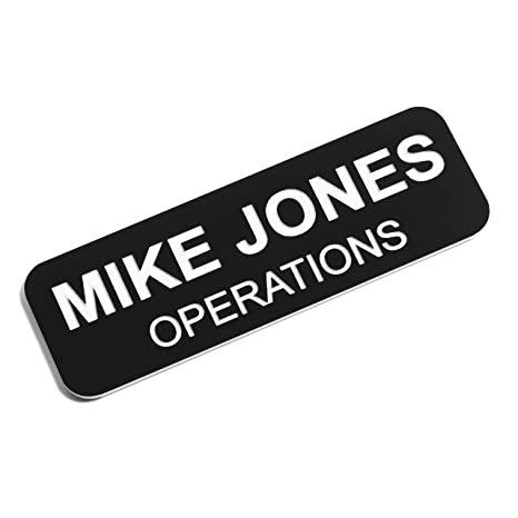 Custom Engraved Name Tag Badges – Personalized Identification with Pin or  Magnetic Backing, 1 Inch x 3 Inches, Black/White
