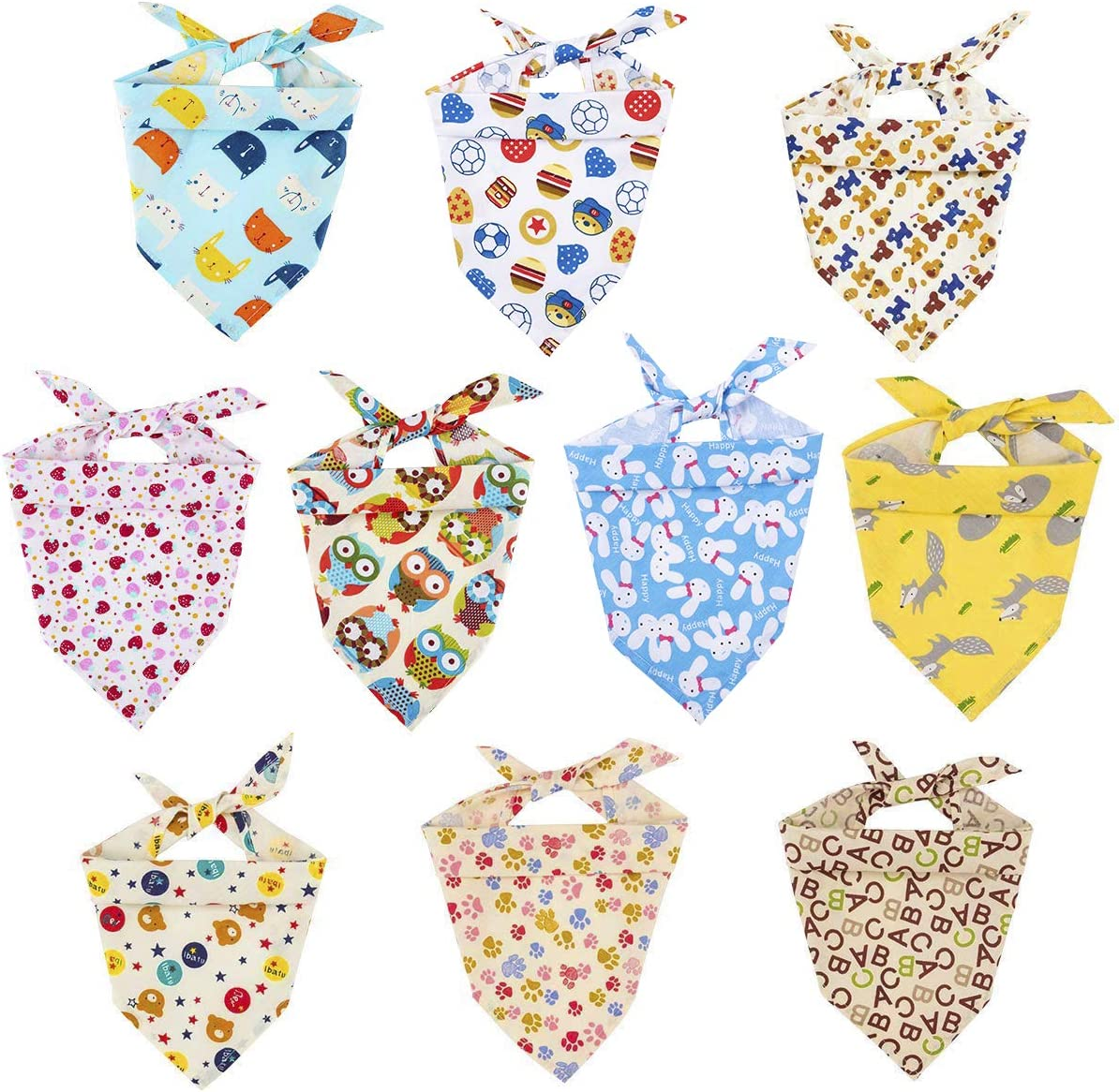 MEWTOGO 10 Pack Dog Bibs - Washable and Reversible Triangle Cotton Dog Bibs Scarf Assortment Suitable for Puppy Small and Medium Pet