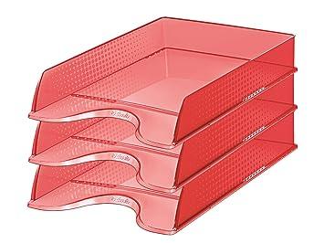 Esselte 623930 - Paquete de 10 bandejas de correo apilables, rojo