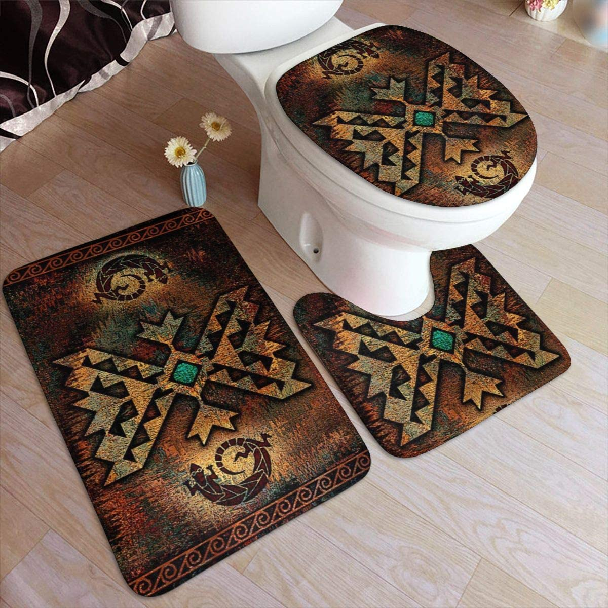 Vbcdgfg Bathroom Rugs Sets 5 Piece Native American Vintage Indian Lizard  Bathroom Rugs Mats Set 5 Pieces Bath Rugs for Bathroom Washable U-Shaped