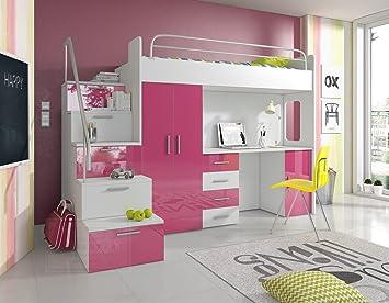 Etagenbett Pink : Hochbett pink rosa hochglanz schreibtisch kleiderschrank bett