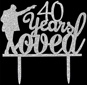 Image Unavailable Not Available For Color CaJaCa 40 Years Loved Cake Topper Silver Michael Jackson Happy Birthday Anniversary Decoration Supplies