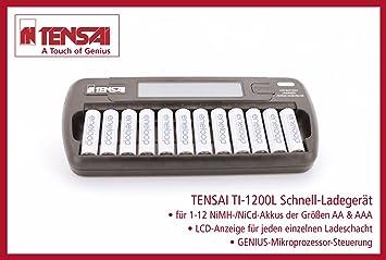 Tensai TI-1200l - LCD Charger - Cargador de pilas AAA / AA / NiMH / NiCd con 8 eneloop pilas AA / Mignon (HR-3UTGB) + con 4 eneloop pilas AAA / Micro