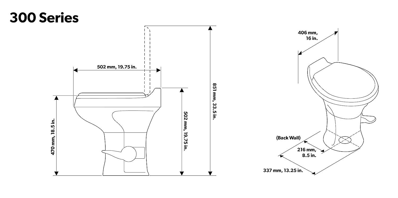 White Dometic 302301671 300 Series Low Profile Toilet