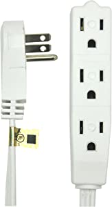 BindMaster 25 Feet Extension Cord/Wire, 3 Prong Grounded, 3 outlets, Angled Flat Plug, White