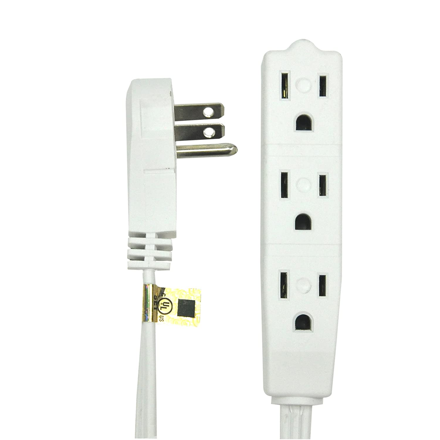 NEW! BindMaster 8 Feet Extension Cord/Wire, 3 Prong Grounded, 3 outlets, Angeled Flat Plug , White