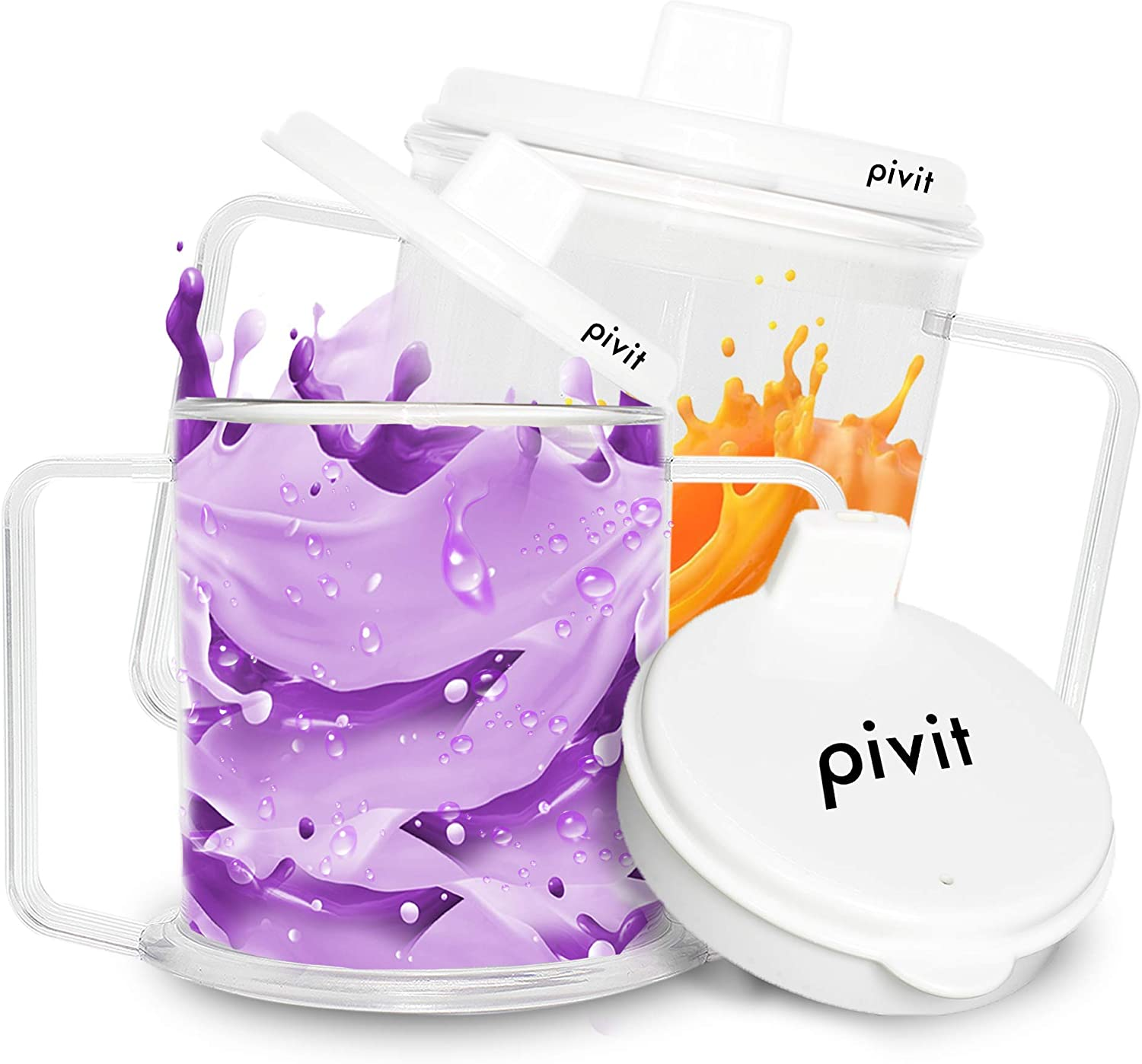 Pivit Adult Flow Control Spill-Proof Sippy Cups | 8 Oz | 2 Pack | Vacuum Feeding Cup with Lids & Handles for Drinking Without Sitting Up | Two-Handled No Spill Plastic Mug for Elderly & Parkinsons