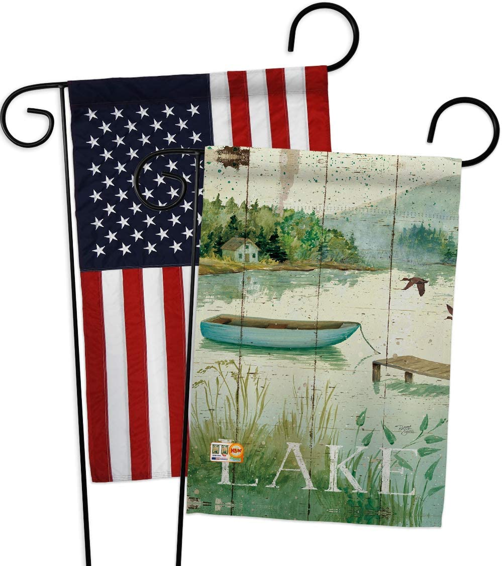 Breeze Decor Lodge at The Lakeside Garden Flags Pack Outdoor Rustic Lake Cabin Moose Wildlife Adventure Forest USA Applique Small Decorative Gift Yard House Banner Double-Sided US Made 13 X 18.5