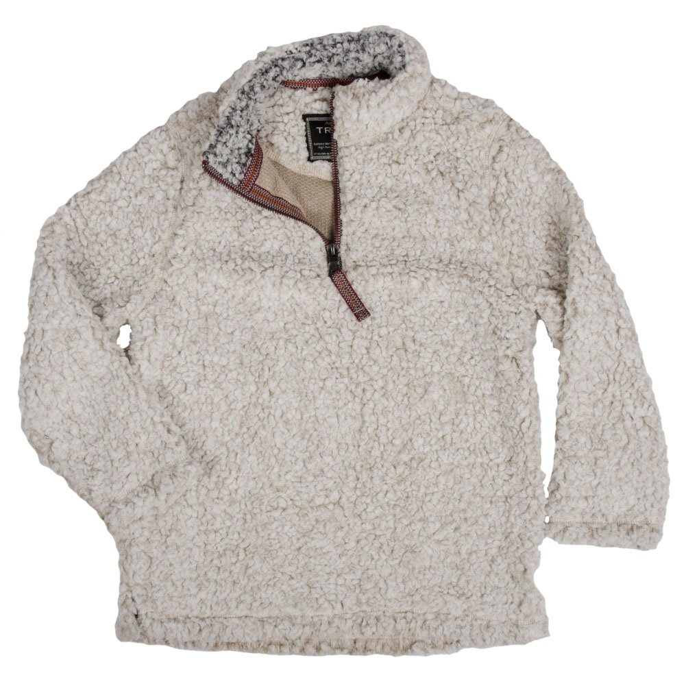 True Grit Kid's 1/4 Zip Frosty Tipped Pile Oatmeal Pullover L