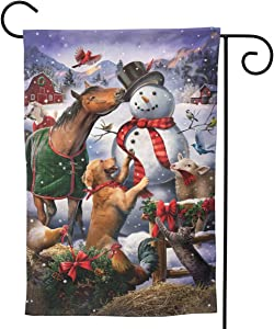 MINIOZE Christmas Snowman Dog Cow Horse Cute Big Large Jumbo Party Themed Flag Welcome Outdoor Outside Decorations Ornament Picks Garden Yard Decor Double Sided 12.5X 18 Flag