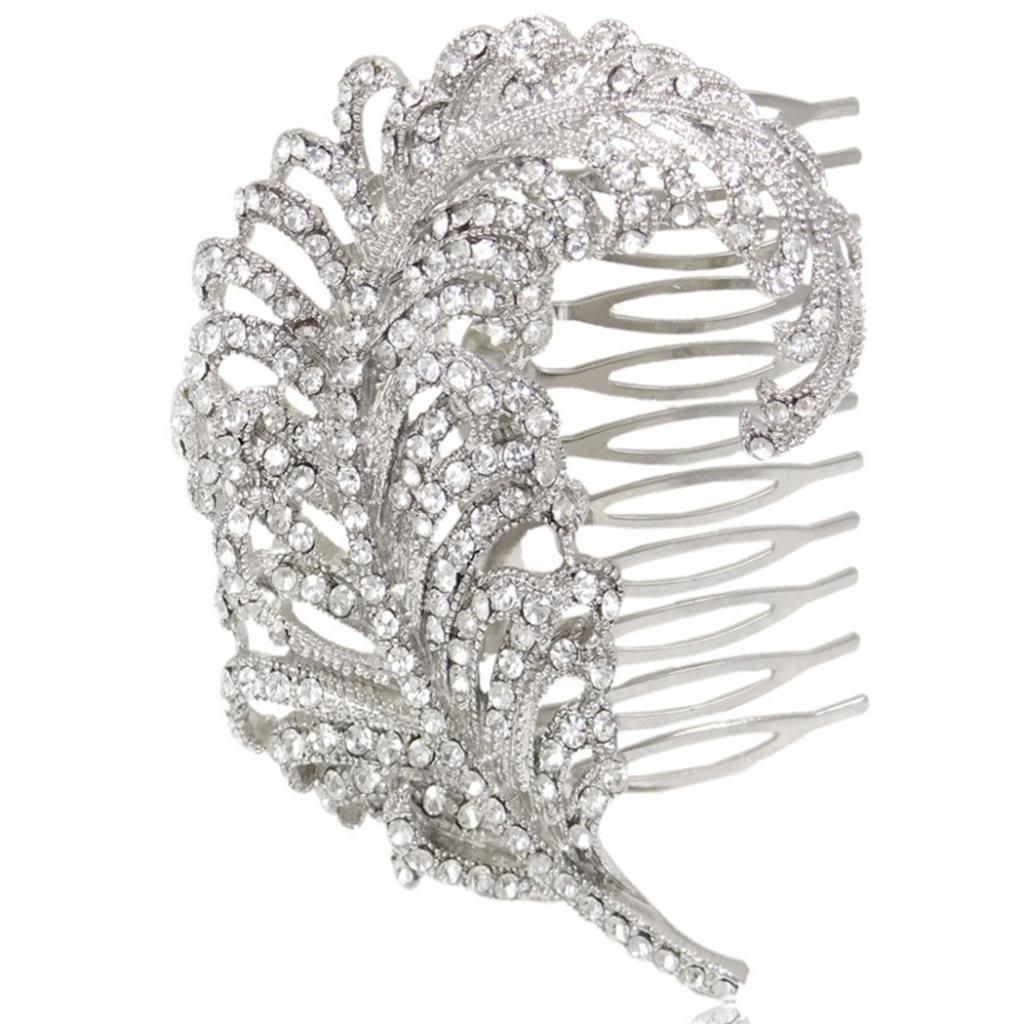 Bridal Silver-Tone Peacock Feather Austrian Crystal Clear Hair Comb N01723-1 Ever Faith