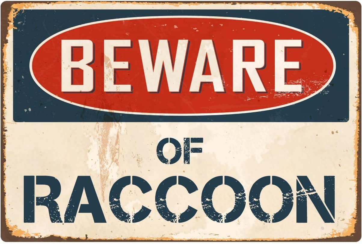"StickerPirate Beware of Raccoon 8"" x 12"" Vintage Aluminum Retro Metal Sign VS352"