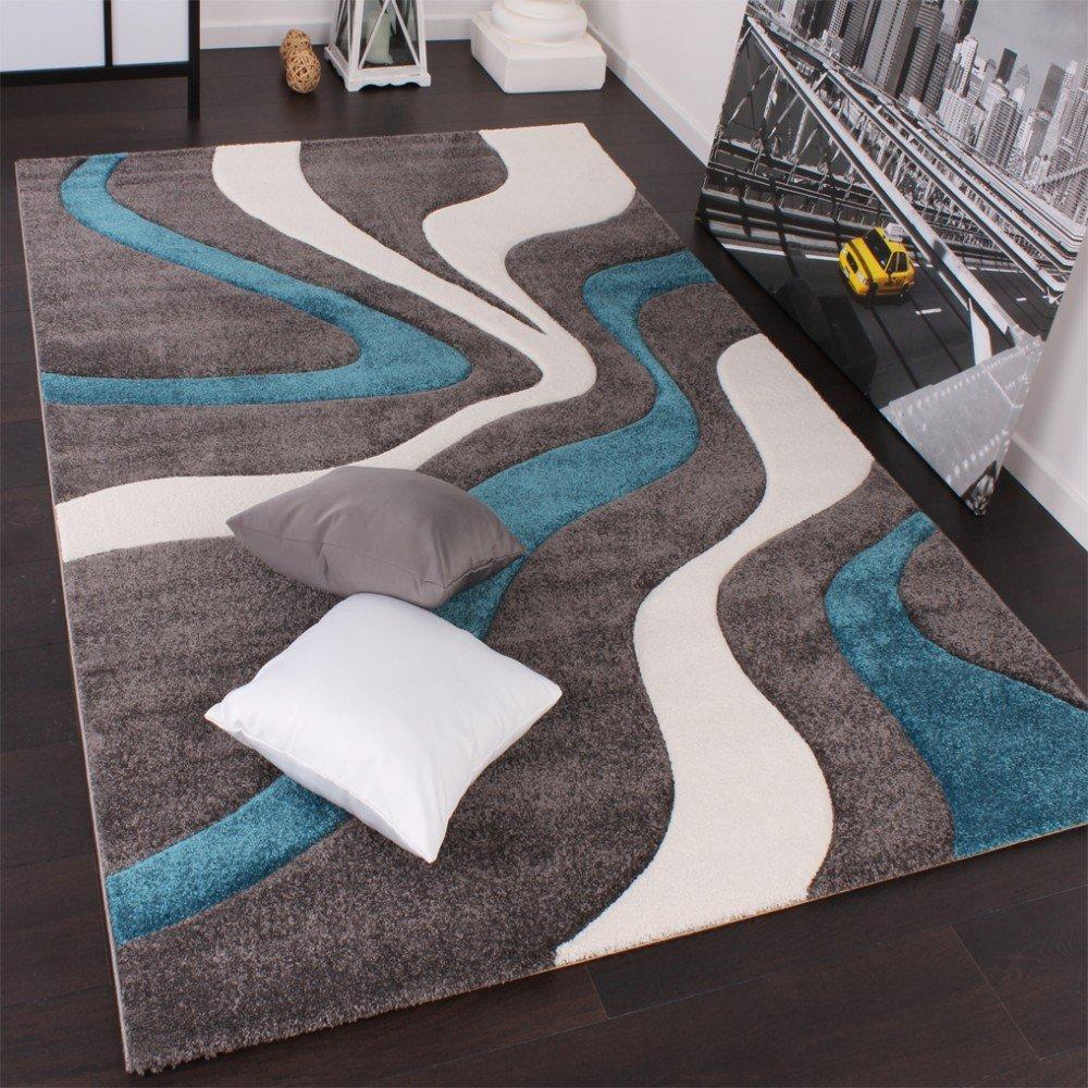 PHC Designer Teppich mit Konturenschnitt Modern Grau Türkis Weiss, Grösse 240x330 cm