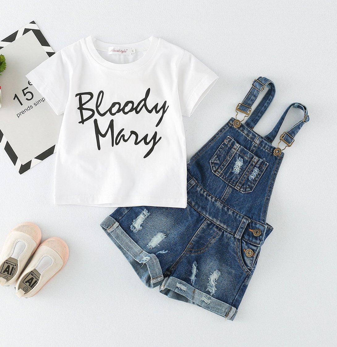 Chumhey Big&Little Girls 2Pc Big Bib Jeans Summer Shortalls Set T-Shirts,Blue,6-7 Years by Chumhey (Image #3)