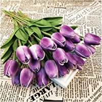 (Purple) - Shine-Co Single Stem Purple Real PU Touched Artificial Tulips 10 Pcs Arrangement Bouquet with Glorious Moral…