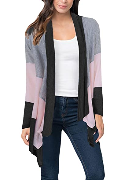 Eliber Women's Casual Cardigan Sweater Blouses Shawl Collar Long ...