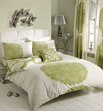 Curtains Ideas cream bedding and curtains : CREAM & LIME GREEN PATTERNED KING SIZE DUVET SET WITH MATCHING ...