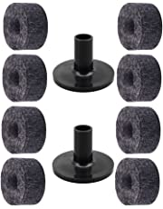 D DOLITY 8 Pieces Drum Set Cymbal Felts + 2Pieces Cymbal Stand for Drummer Gray