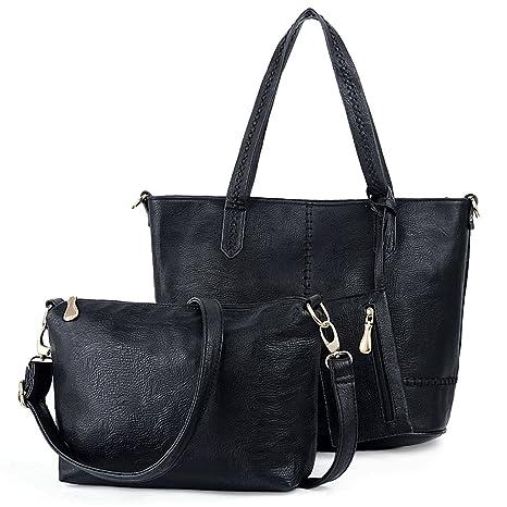 UTO Damen Handtasche Set 3 Stücke Tasche PU Leder Shopper