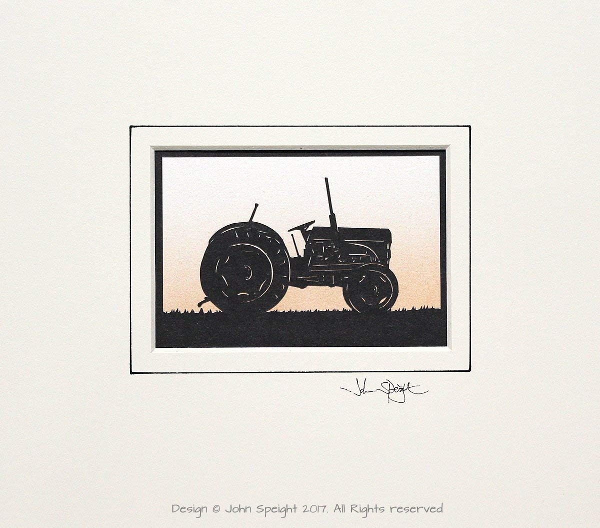 Gift for him FergusonLittle Grey Fergie Tractor Original Signed Hand Cut Silhouette Papercut Art by John Speight