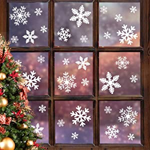 LUDILO 135Pcs Christmas Window Clings Snowflakes Window Decals Static Window Stickers for Christmas Decorations Window Décor Ornaments Xmas Party Supplies Thanksgiving Party Décor (5-Sheet)
