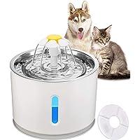 ALLOMN Vattenfontän för husdjur, automatisk katt hund dispenser stöd 3 vattenflödeslägen tyst aktiverat kol med topplock…