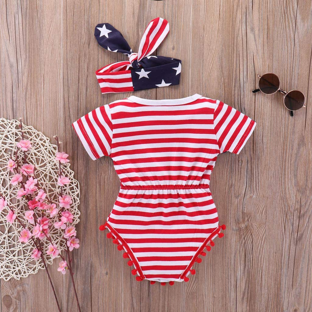 Huifa Independence Day Baby Girls Romper 4th of July Stars and Stripe Patriotic Romper Outfits Set