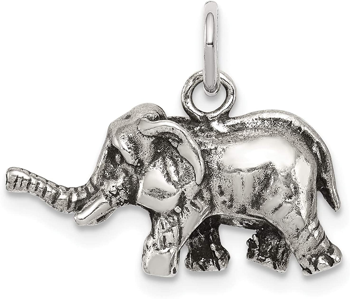 Solid 925 Sterling Silver Antiqued-Style /& Textured Elephant Pendant