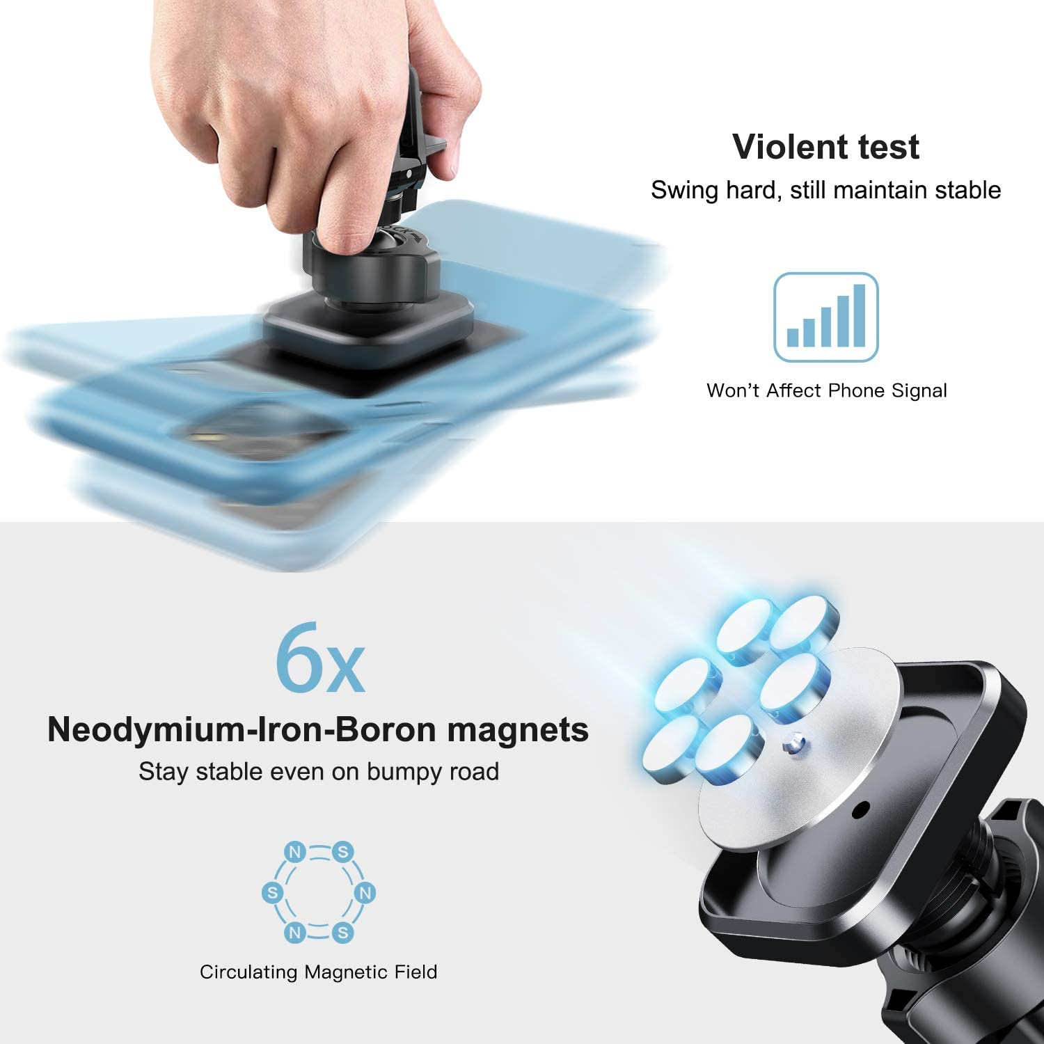 Desertwest Car Vent Phone Mount Strong Magnet Universal Car Cell Phone Holder Compatible with iPhone SE 11 Pro Max XR Samsung Galaxy S20 S10 S10 Magnetic Phone Car Mount Google and More