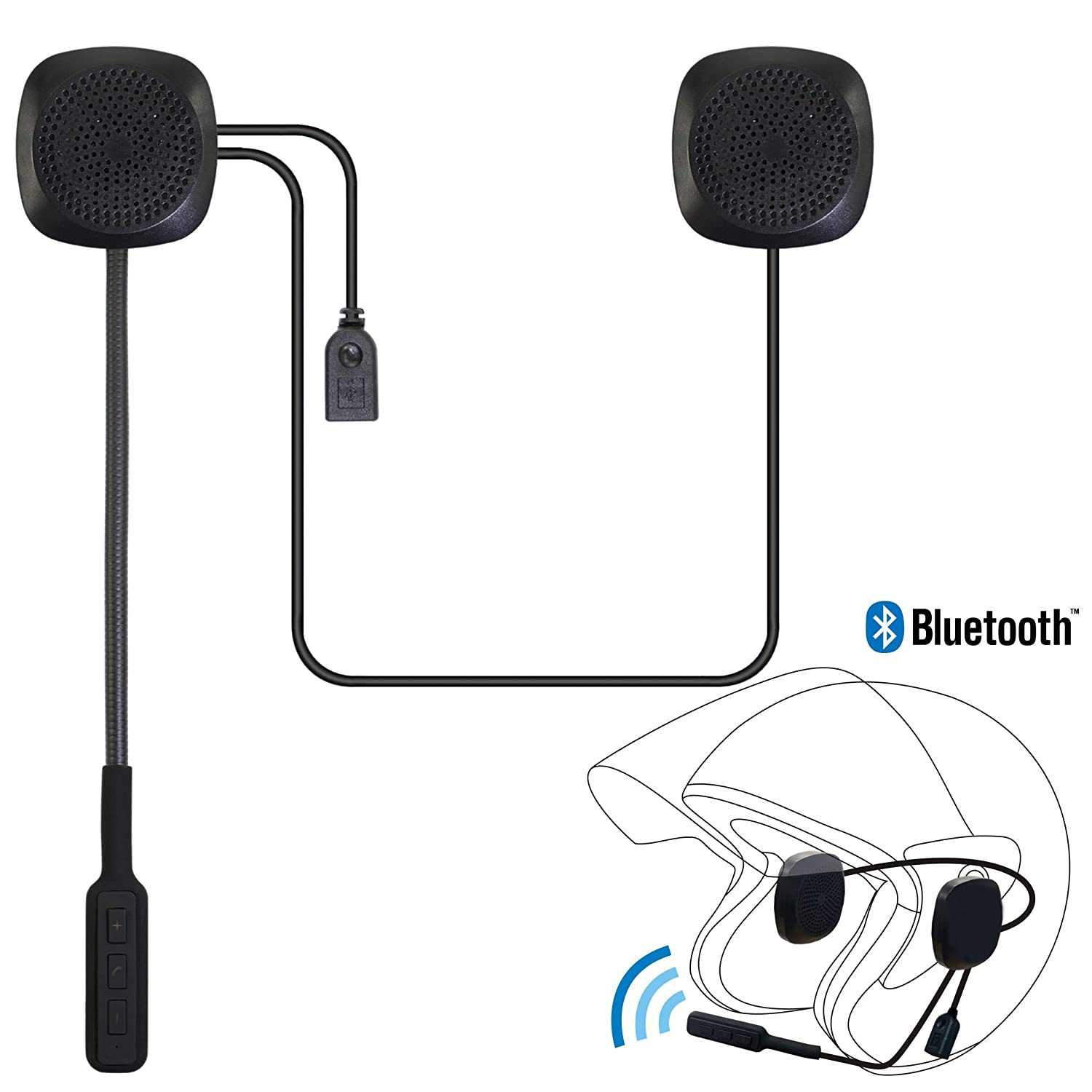 Motorcycle Helmet Bluetooth Headset, Wireless Helmet Heaphones IZTOSS